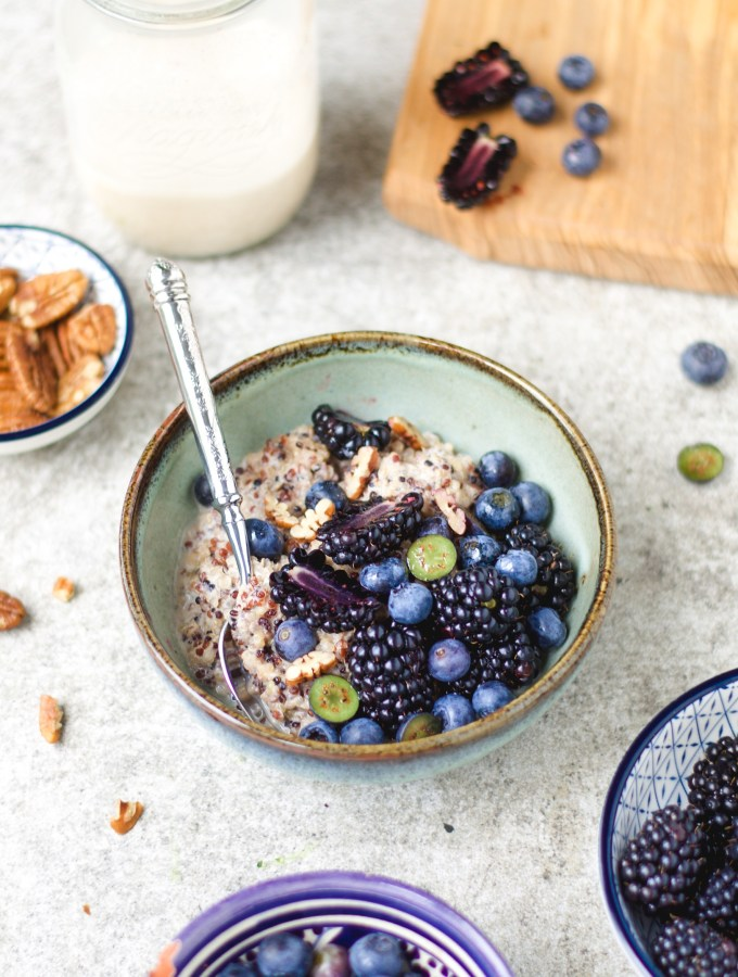quinoa porridge wiith ginger pecan milk