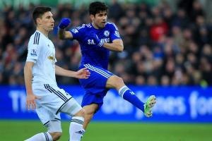 Diego Costa in action against Swansea(ChelseaFC.com)