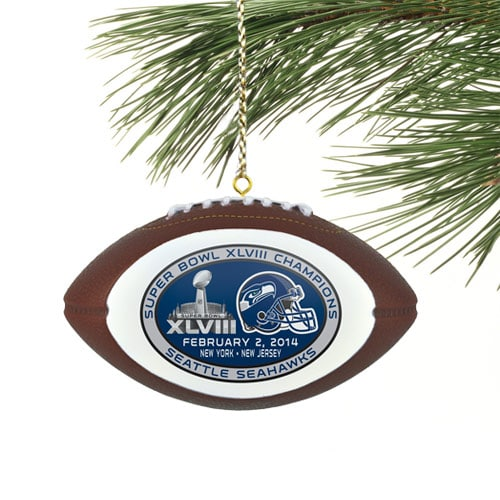 Seattle Seahawks Super Bowl XLVIII Champions Mini Football Ornament