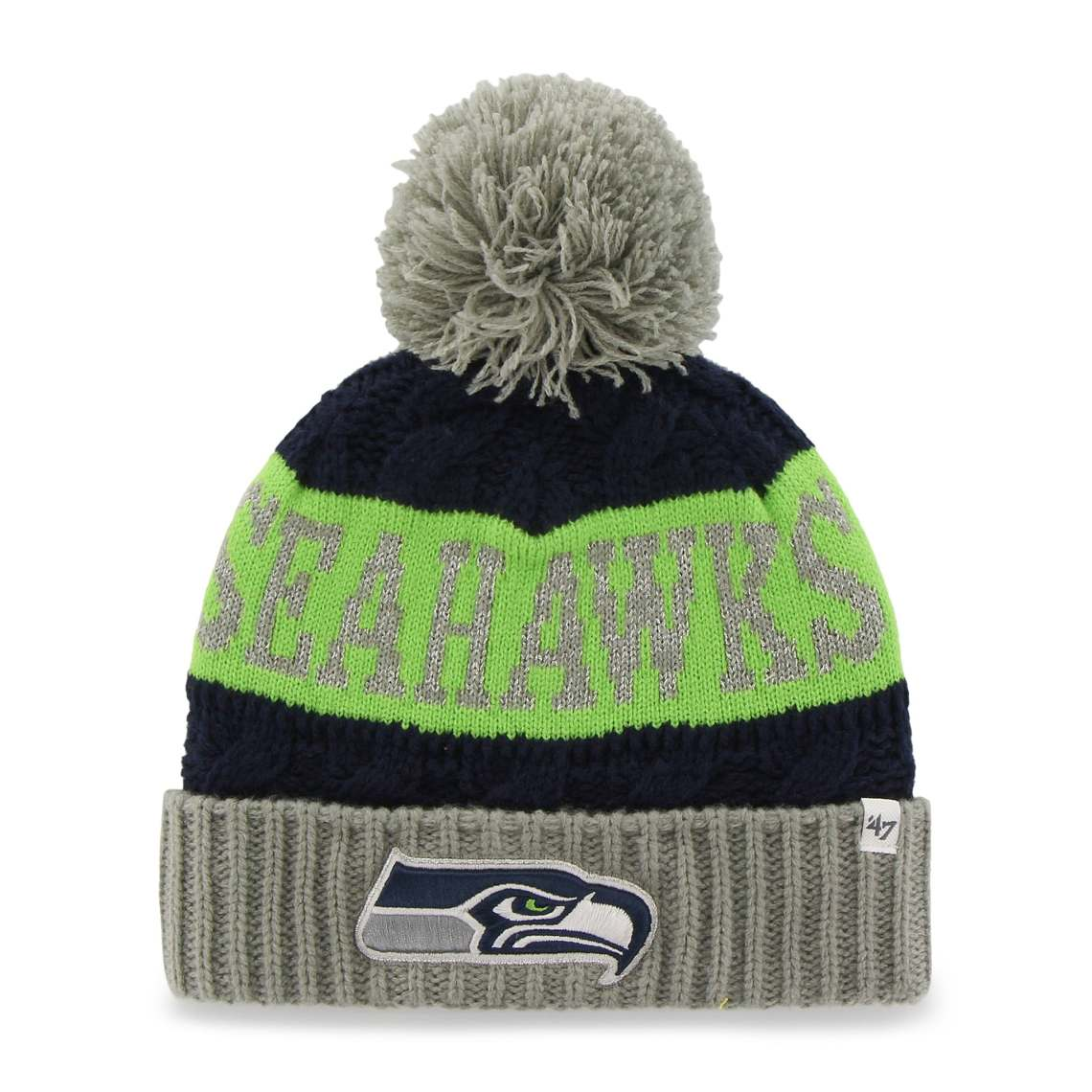 Seattle Seahawks '47 Brand Women's Swanson Cuff w/Pom Knit Beanie - College Navy