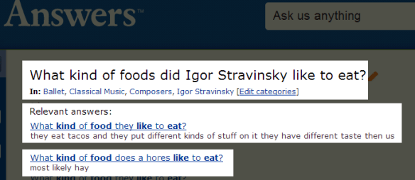 random ass answers to Igor Stravinsky question