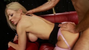 Sexy blonde bombshell Cindy Behr takes a huge cock inside of her
