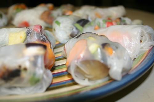 blurry spring roll platter