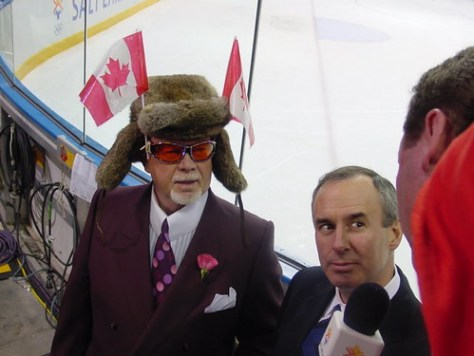 Ron and Don at SLC winter games with dav'es fuzzy hat