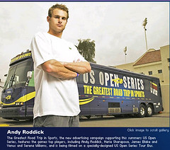 roddick - u.s. open series tour bus