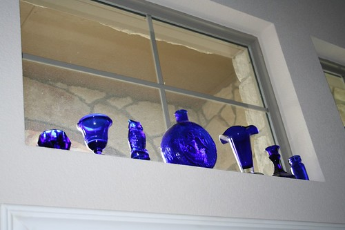 blue glass in the window