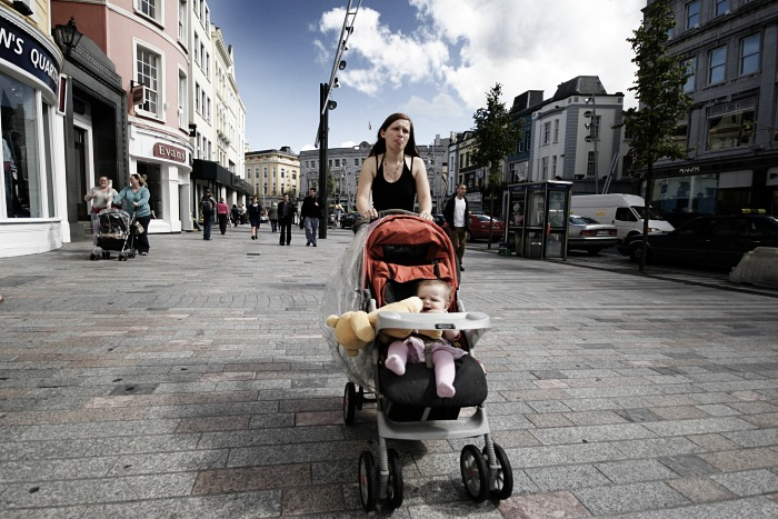 Mother and baby on the street
