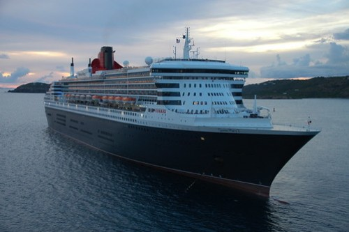 The Queen Mary 2 in St. Thomas Outer Harbour