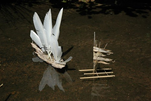 Goose feathers, bark & bamboo boats (by Lenny&Meriel)