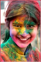 A girl in full holi colors