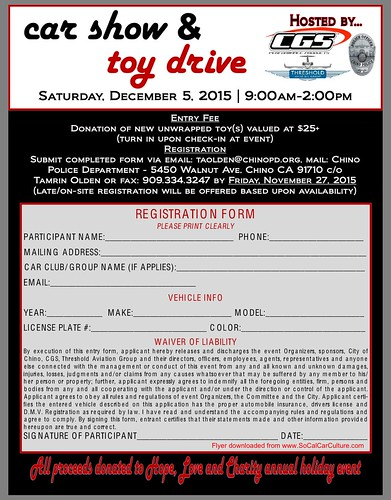 """CHINO CA USA """" Car Show Aand Toy Drive"""" December 5, Saturday - 9am to 2pm - Threshold Aviation Group -  live music , vendors , car awards,  kids activity, food booths,  raffles - Credit: www.SoCalcarculture.com • <a style=""""font-size:0.8em;"""" href=""""http://www.flickr.com/photos/134158884@N03/22881336384/"""" target=""""_blank"""">View on Flickr</a>"""