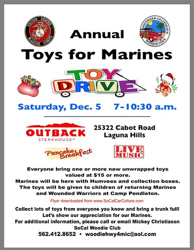 "LAGUNA HILLS P CA USA - USA ""Toy Drive for Marines"" December 5, Saturday - 7am to 10:30am  - Bring unwrapped $15 toy   - Credit: www.SoCalcarculture.com • <a style=""font-size:0.8em;"" href=""http://www.flickr.com/photos/134158884@N03/22889672414/"" target=""_blank"">View on Flickr</a>"