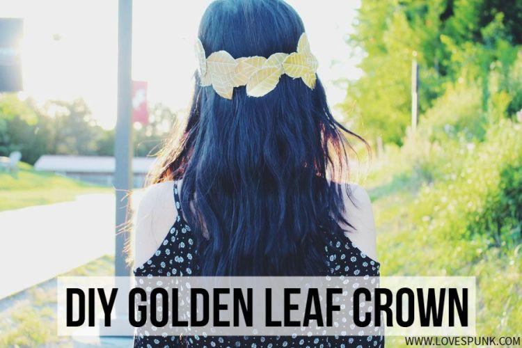 DIY Golden Leaf Crown- LoveSpunk. Super cute to wear and make during summer!