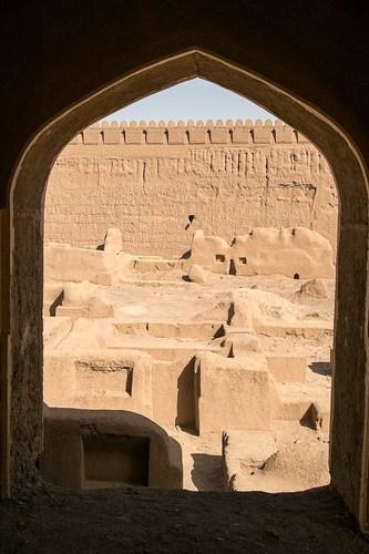 Rayen Window. Mud-brick city in the deserts of Iran.