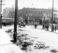 Wood Block Repairs on Pender  St. at Main, 1914
