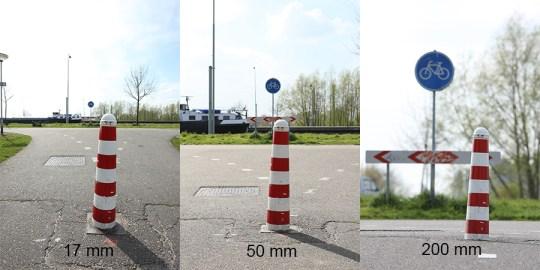 Drie brandpuntsafstanden naast elkaar waarbij de relatie tot de achtergrond heel duidelijk is. De 50mm zit het dichtst bij wat we zelf waarnemen.