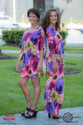 Lily Dress | Colour Bomb & Lady Bird Top with Three Quarter Sleeves + Long Straight Skirt