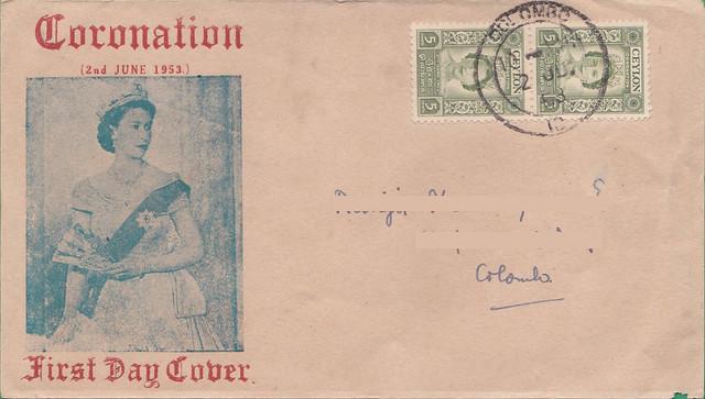 Ceylon Coronation 1953 FDC