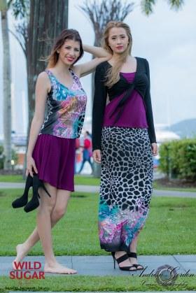 Singlet + Skate Skirt and Bell Sleeve Tie Top + Singlet + Long Straight Skirt