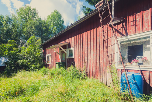 Abandoned house with forgotten cane