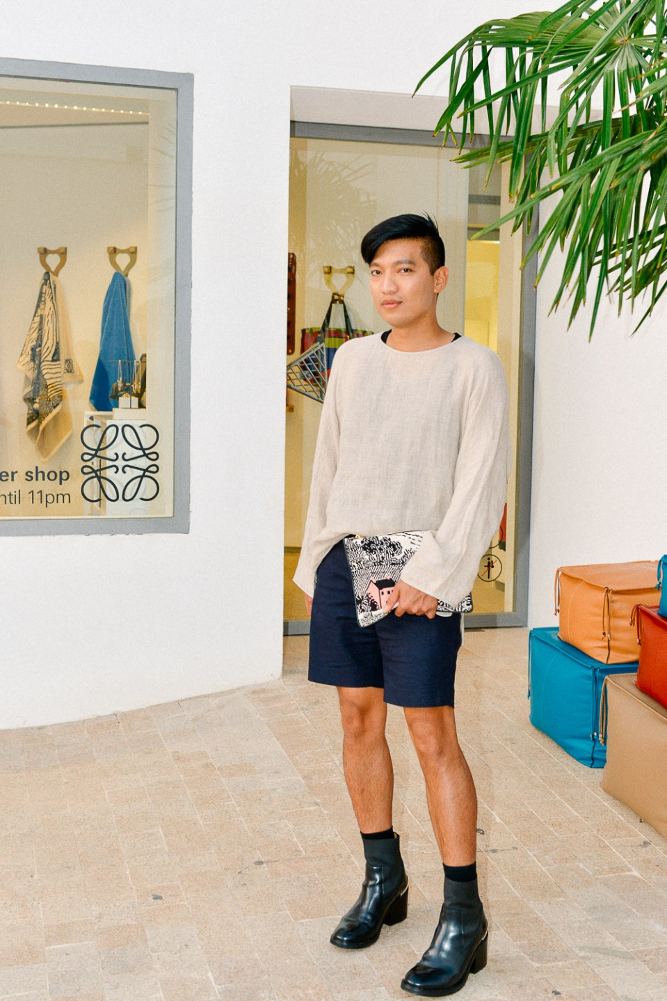 Fashion blogger Bryanboy at the Loewe Ibiza summer pop up store