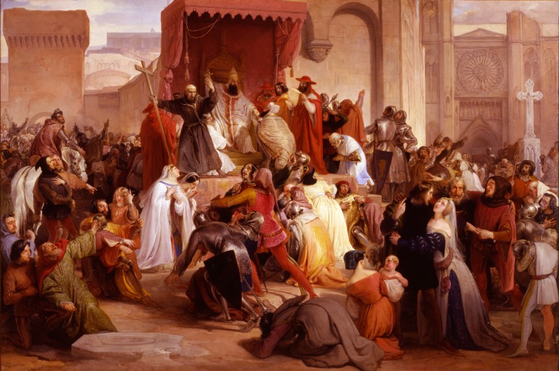 Pope Urban II Preaching the First Crusade in the Square of Clermont by Francesco Hayez, 1835