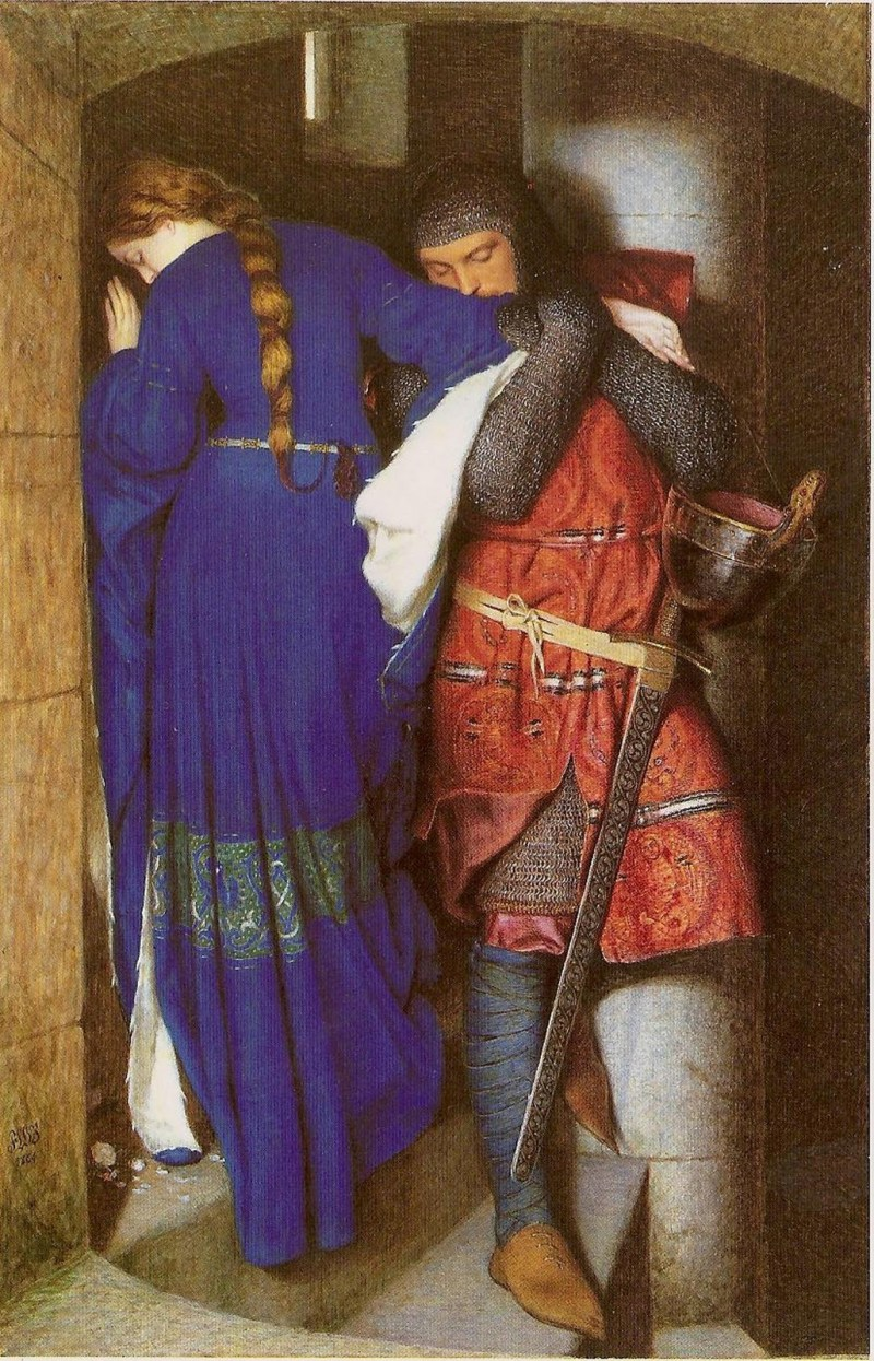 The Meeting on the Turret Stairs by Frederic William Burton, 1864