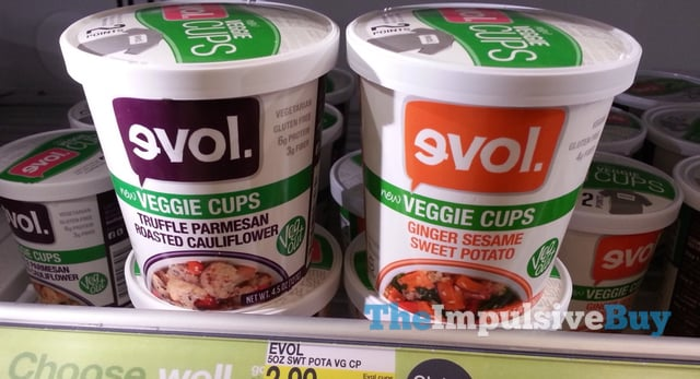 evol Truffle Pamesan Roasted Cauliflower and Ginger Sesame Sweet Potato Veggie Cups