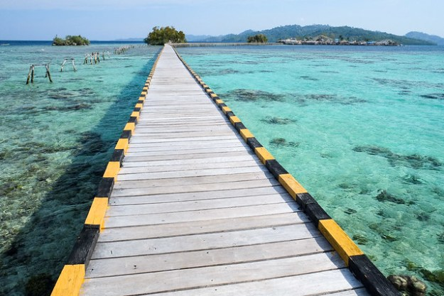 The long bridge. Pulau Papan, Malenge, Togean Islands, Indonesia