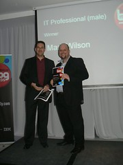Me, accepting the award for the IT Professional (Male) category in the Computer Weekly Blog Awards 2010