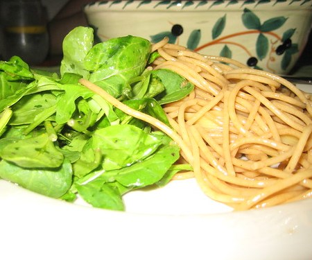 Noodles with a little Arugula Salad.