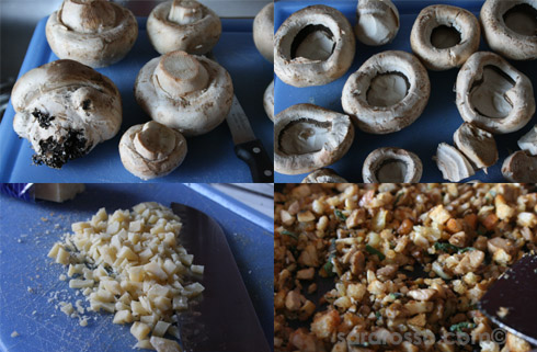 Making Garlic Stuffed Mushrooms