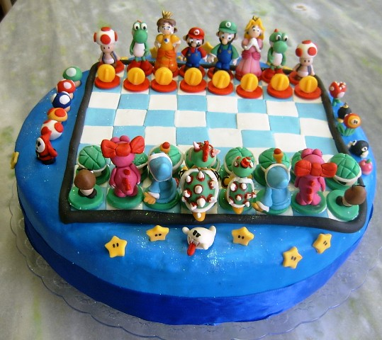 super mario (chess) cake