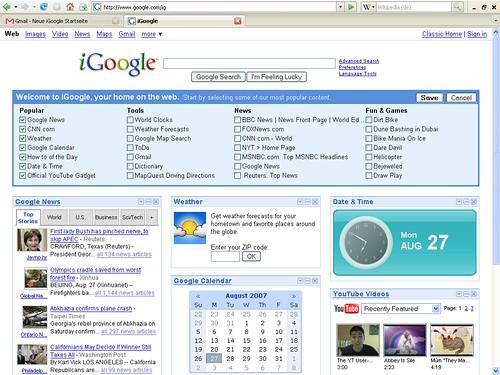 iGoogle Gadget-Vorschläge