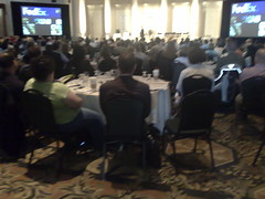 Crowd listening to Mark Colombo of FedEx speak