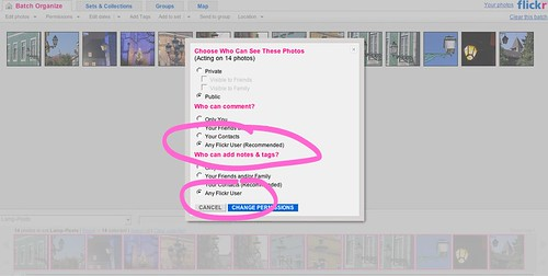 Flickr: change photo permissions