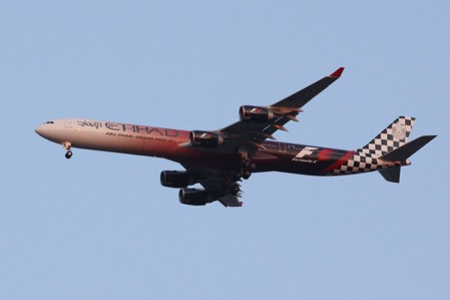 Etihad Airways A340-600 A6-EHJ in a Formula 1 promotional livery