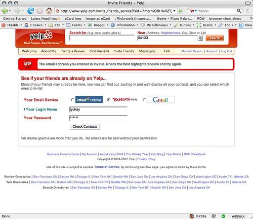 Yelp seriously needs the Plaxo widget