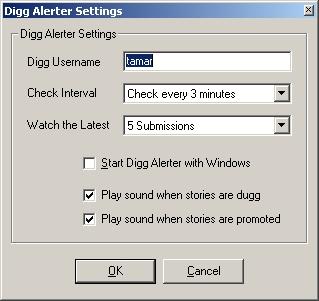 Digg Alerter Dialog Box (Options)