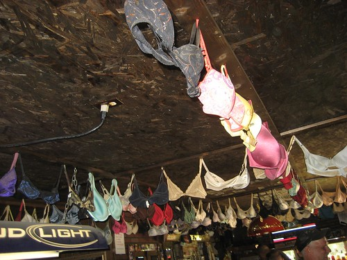 Bras on the ceiling at the Elbow Inn