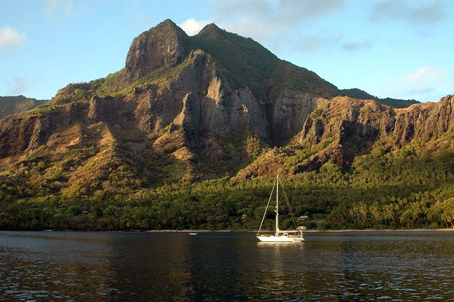 Sailboat with Anaho Bay Mountains