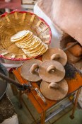Itanoni | Tostadas. The clay utensil guarantees that the tostada will be cooked to a crisp evenly.