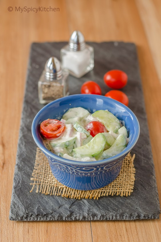 Cucumber Tomato Salad with Sour Cream, Cucumber Tomato Salad, Salad, Summer Salad, Blogging Marathon,  Simple Salad