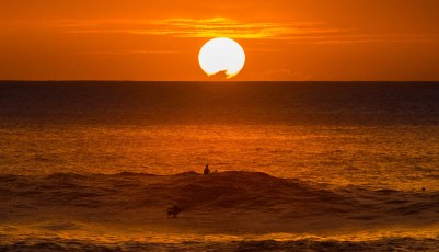 Sunset Surfer Waimea Bay Oahu Hawaii
