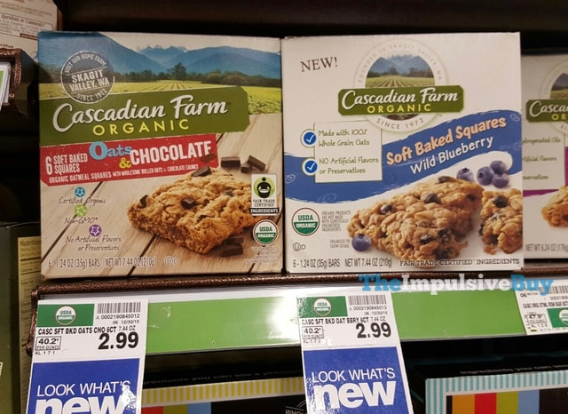 Cascadian Farm Organic Oats & Chocolate and Wild Blueberry Soft Baked Squares