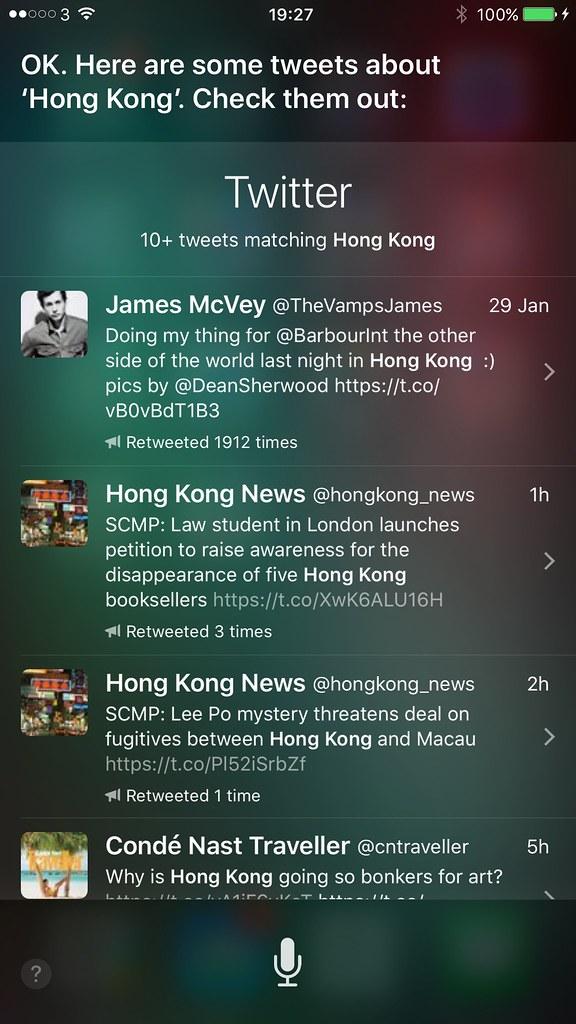 Siri using Twitter as news