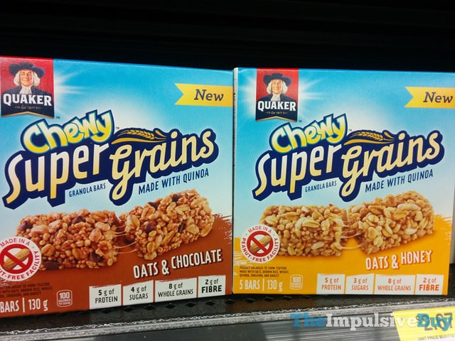 Quaker Chew Super Grains Oats & Chocolate and Oats & Honey