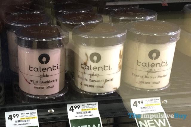 Talenti Gelato (Wild Blackberry, Vanilla Caramel Swirl, and Peanut Butter Pretzel)