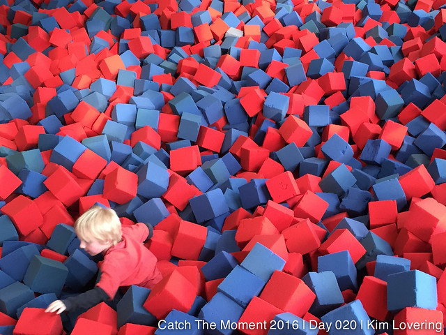 Henry in a pit of foam blocks