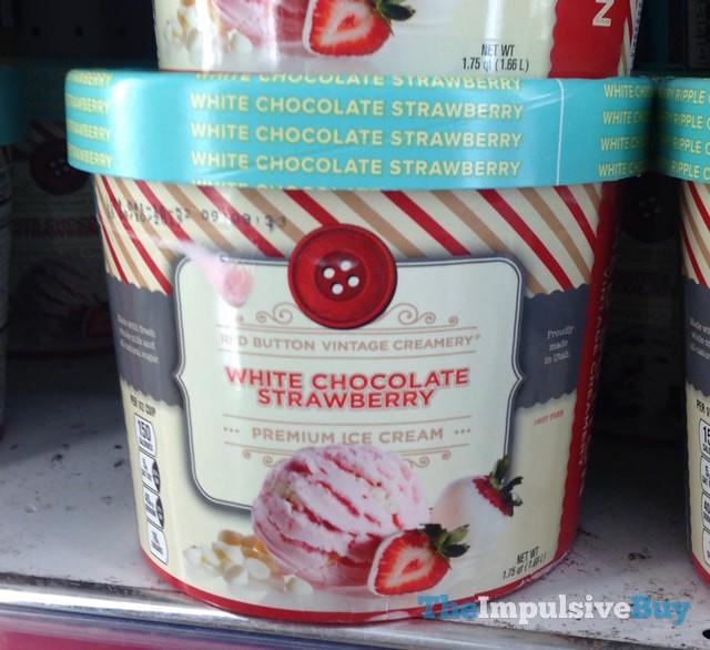 Red Button Vintage Creamery White Chocolate Strawberry Premium Ice Cream